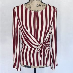 By Together Striped Tie at Waist Long Sleeve Top